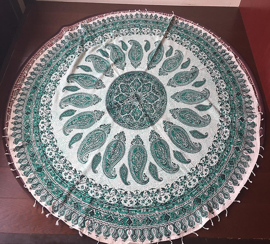 円形サイズペルシャ絨毯風の布更紗150cm×150cmテーブルクロススファーカバー
