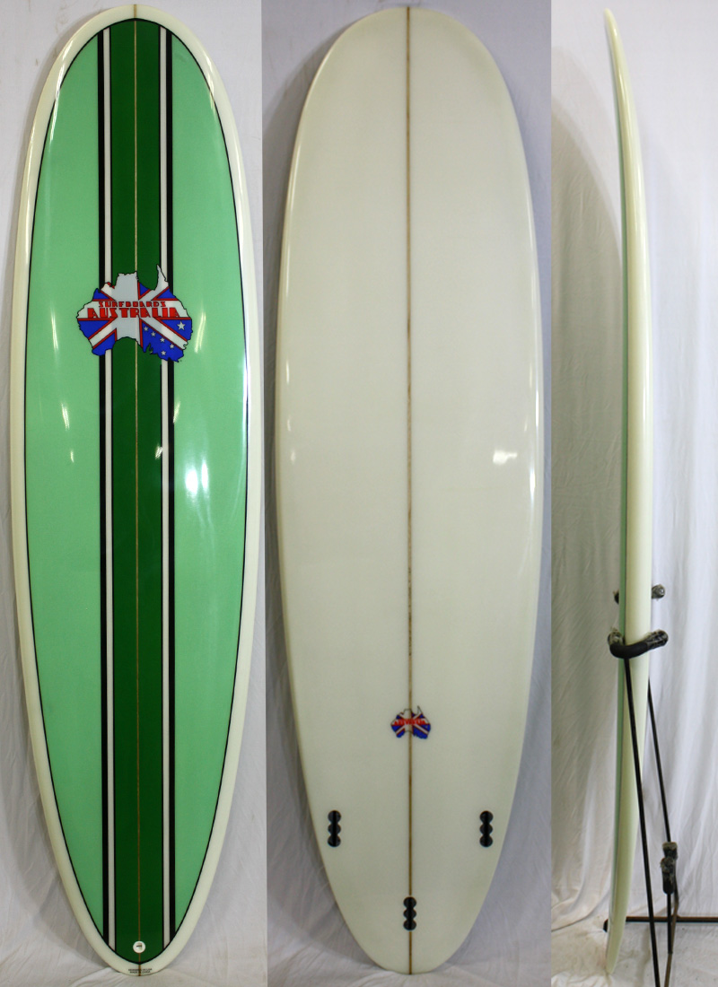 【2018秋冬新作】 【新品アウトレット】Surfboards Australia (サーフボードオーストラリア)サーフボード [stripe [stripe/green] FIN付き ショートボード/green] 6'8