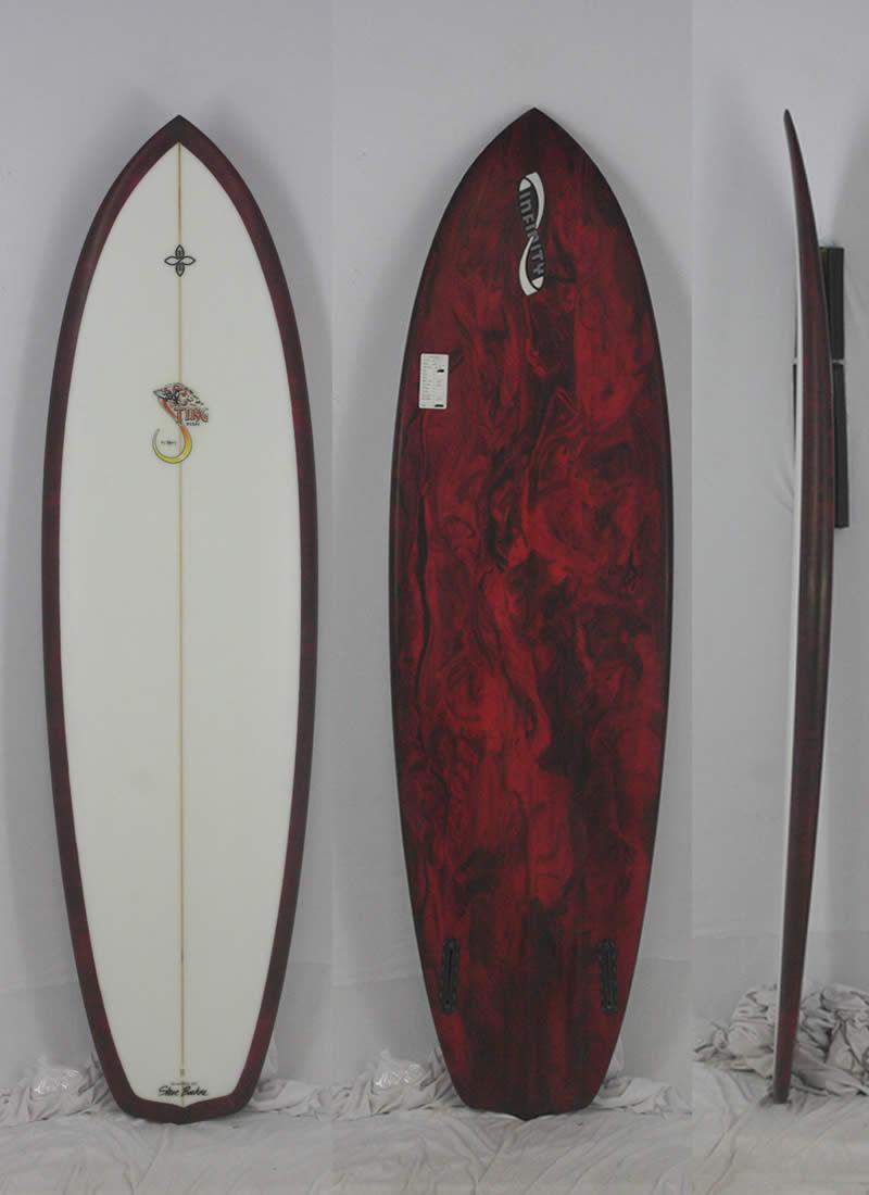 【新品アウトレット】INFINITY (インフィニティー) STING FISH モデル サーフボード [CLEAR/REDマーブル] 6'4