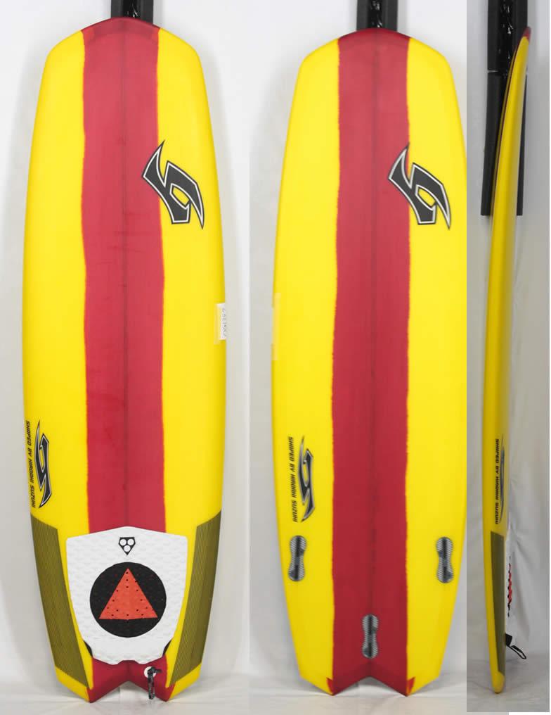 """5'1"""" 【中古】 MODERN ACTION SURF BOARD [Yellow/Red] 小波が楽しい!! HIROAKI SUZUKI シェイプ 大特価 サーフボード"""