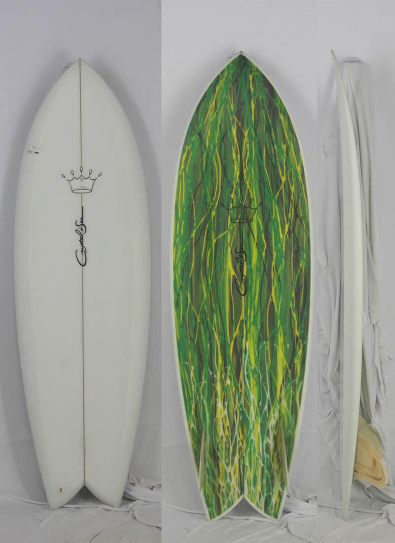 【新品アウトレット】CRYSTAL SEA(クリスタルシー)TWIN FISH サーフボード[CLEAR] 5'7