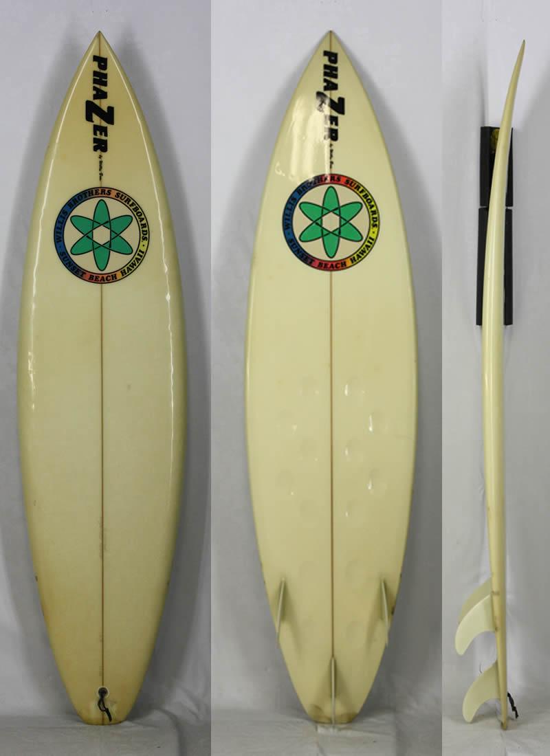 """6'4"""" 【中古】希少!! Willis Brothers SURFBOARDS [CLEAR] PHAZERボトム!! HAWAII 伝説のレジェンドウィリスブラザーズ サーフボード 現品限り!"""