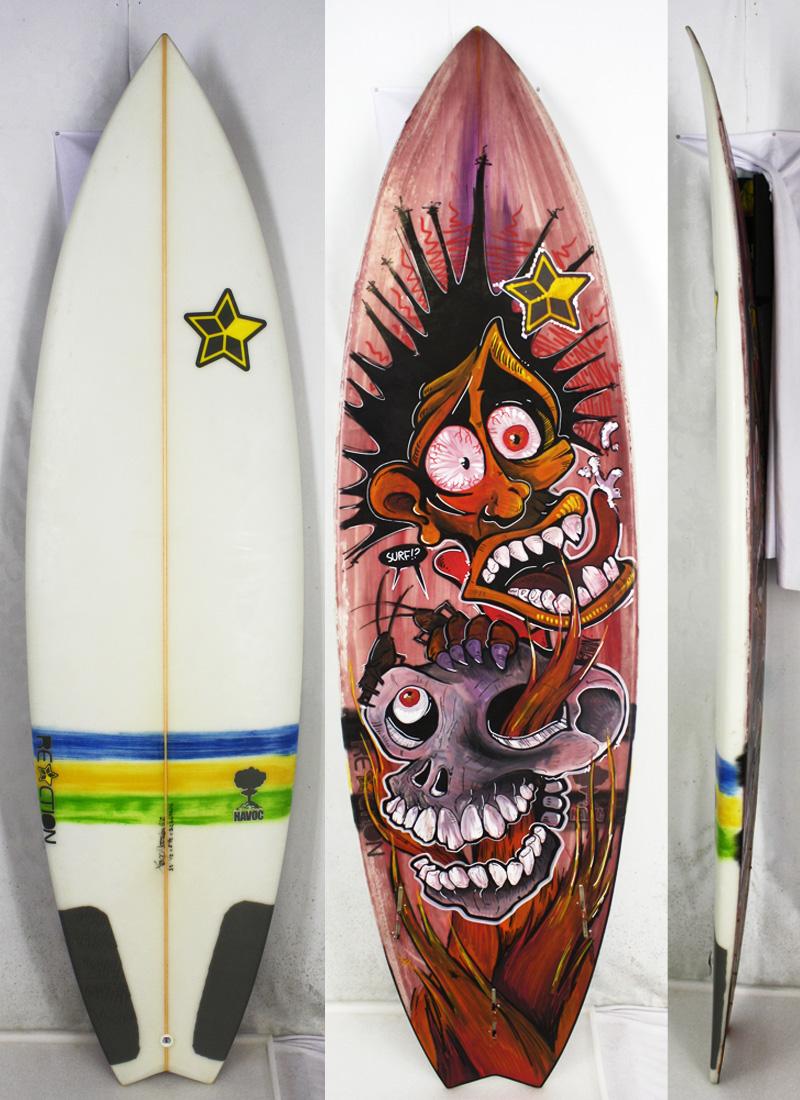 【中古】RECTION Surfboard サーフボード [brush] 6'2