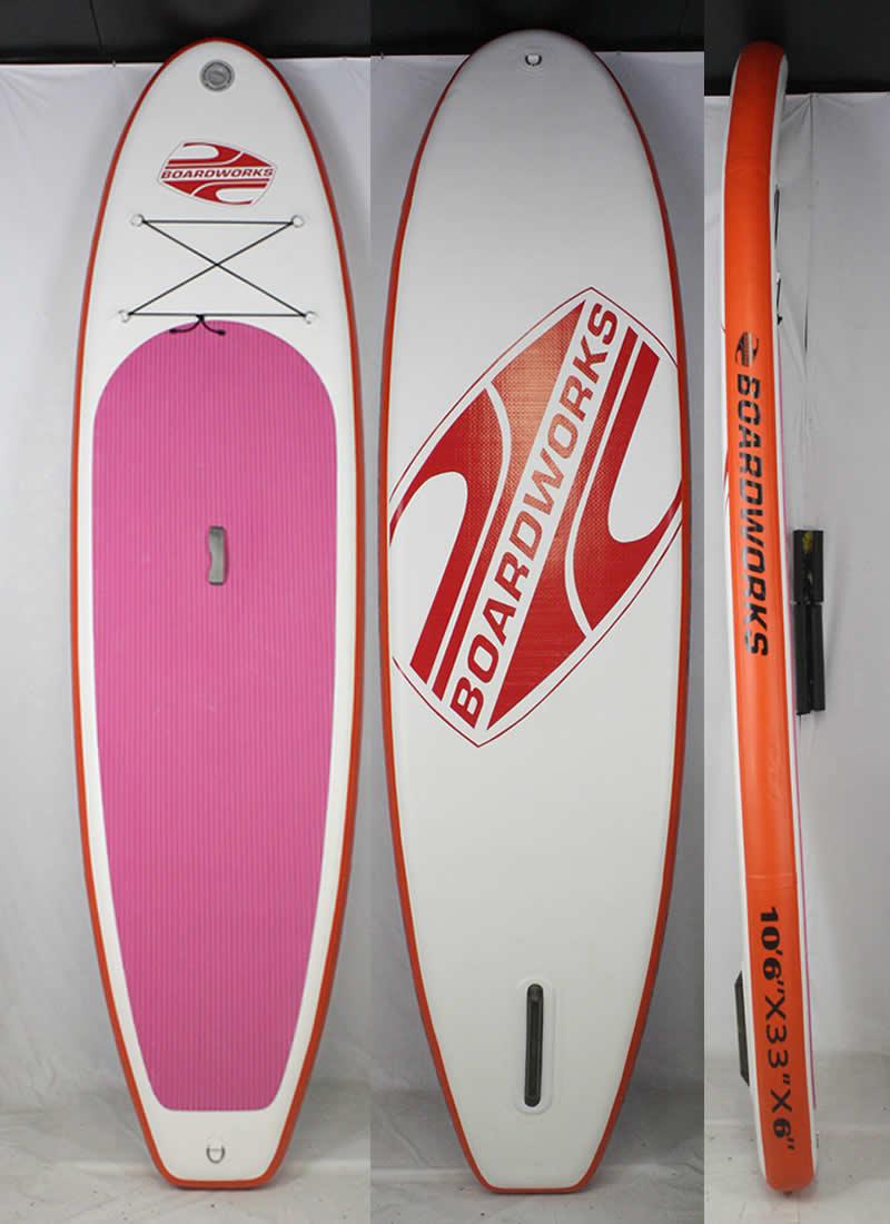 【極上中古】 BOARDWORKS オリジナル インフレータブル スタンドアップパドルボード [White/Orange/Pink] 10'6