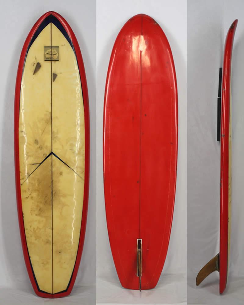 【希少中古】MICHAEL SURF BOARD(ミカエル)ヴィンテージ サーフボード[CLEAR/RED]6'8