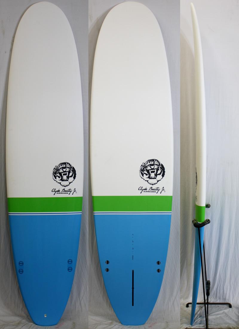 【新品アウトレット】Clyde Beatty Jr(クライド・ビーティー・ジュニア)サーフボード [White/green/Blue] 7'6