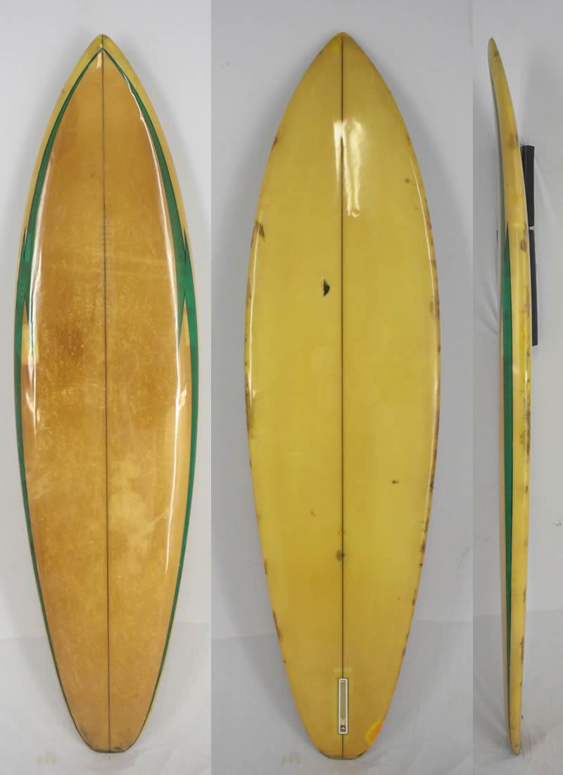 【中古】MALIBU SURF BOARD (マリブサーフボード) ヴィンテージ サーフボード [GREEN×CLEAR] 194.5cm シングルフィン サーフボード フィン付