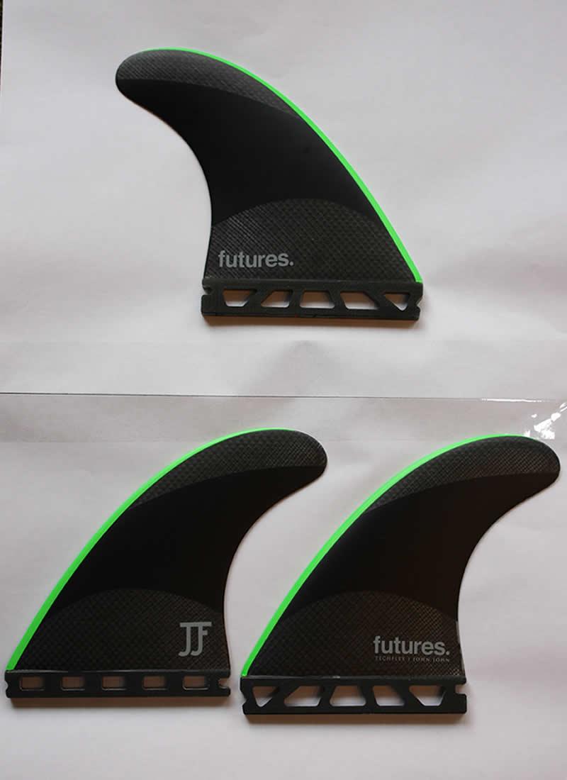【中古】FUTURES.(フューチャー)フィン JJ-2 ジョンジョン [BLK/GRN]Mサイズ TECHFLEX TRI FIN 3枚セット ケース付