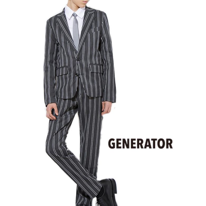 送料無料 ジェネレーター スーツ 150 160 男の子 卒業式 GENERATOR グレー ストライプ セットアップ 子供服 ジュニア フォーマル セット 結婚式 正装 あす楽 クーポン対象