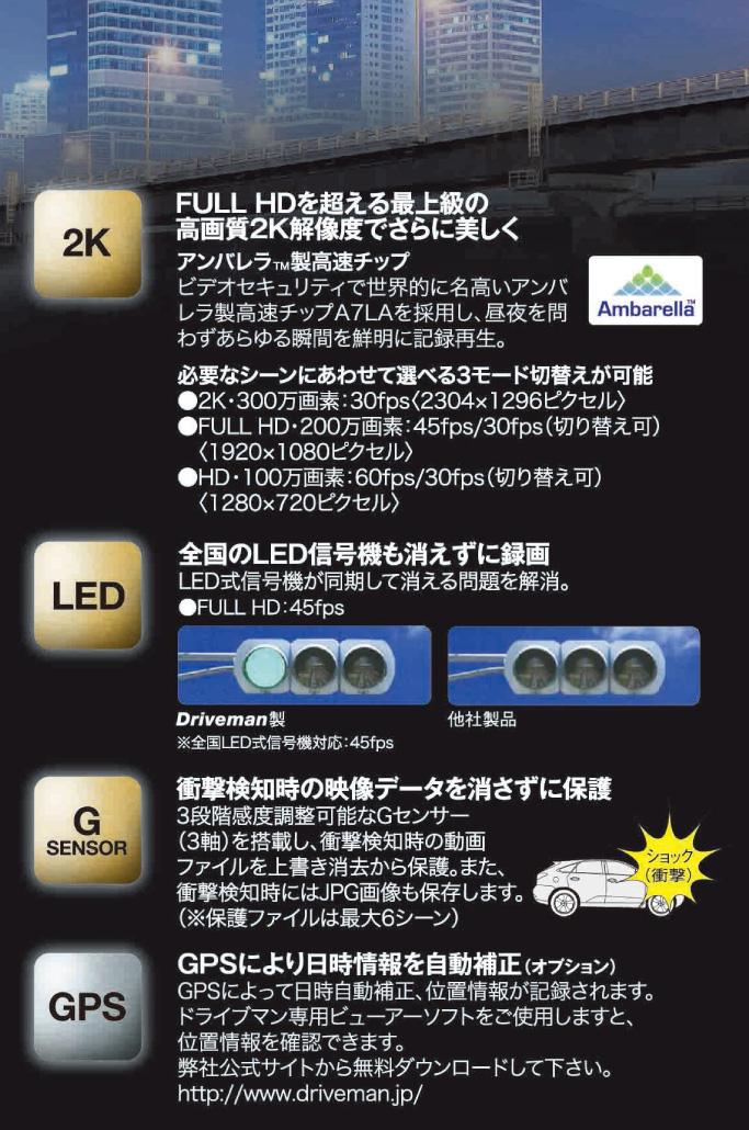 2K高画質ドライブレコーダー1080sα