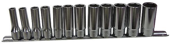 KOKEN 3/8Dr. ロングソケット(6角)8~19mmの12個SET レールクリップ付(ミリサイズ)
