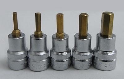 HAZETハゼット3/8DR.ショートヘックス3-4-5-6-8mmのチタンコーテイング5本SET 8801K-5SPCJ
