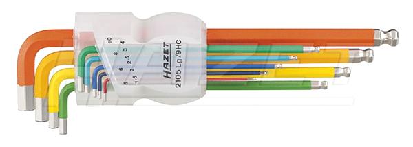 HAZET ハゼット(MADE IN GERMANY )ボール付きロング六角棒レンチフルカラーミリサイズ9本セット1.5mm~10mm2105LG/9HC