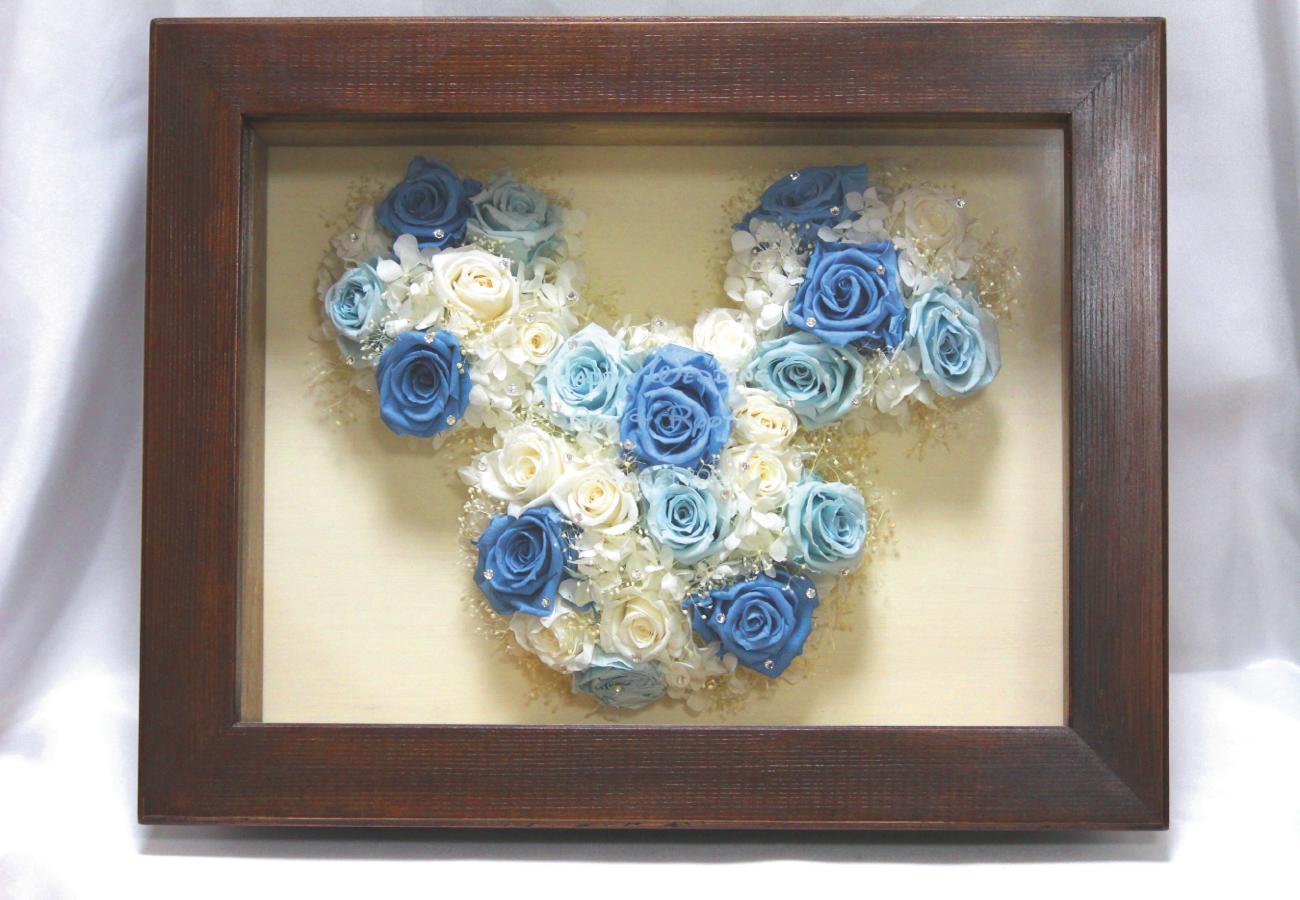 【ミッキープリザーブドフラワーボックス・ホワイト&ブルー】【彫刻込み】/プロポーズ/プリザーブドフラワー/プロポーズプレゼント/ミッキー/ミニー/ディズニー/薔薇/花束/誕生日/結婚/記念日/名前入り/名入れ
