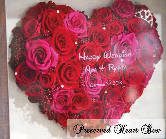 プリザーブド フラワーボックス ハート ティアラ付 彫刻込み プロポーズ プリザーブドフラワー プロポーズプレゼント 壁掛け 薔薇 花束 誕生日 結婚 記念日 名前入り 名入れ ハート ボックスフラワー 還暦祝い