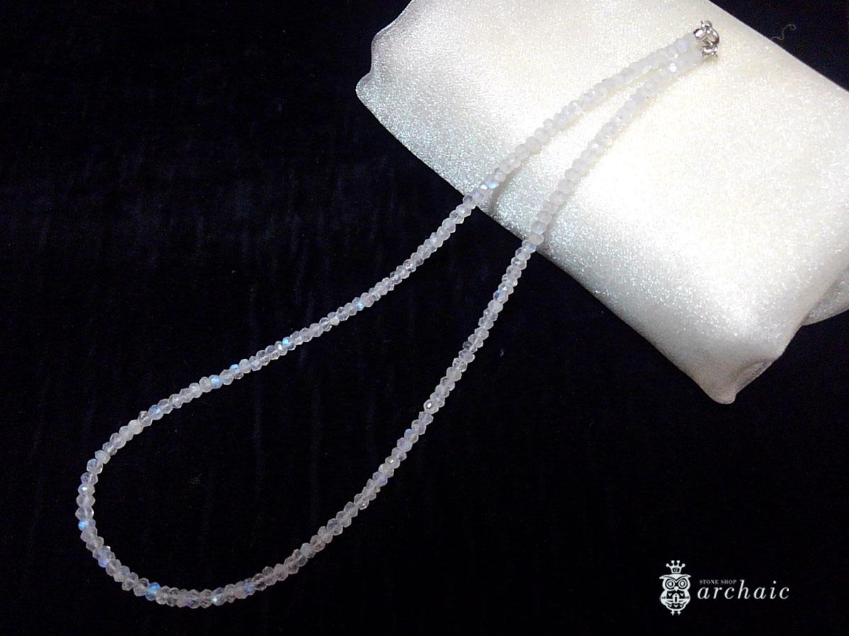 ブルームーンストーンの一連ネックレス(ボタンカット・42cm)