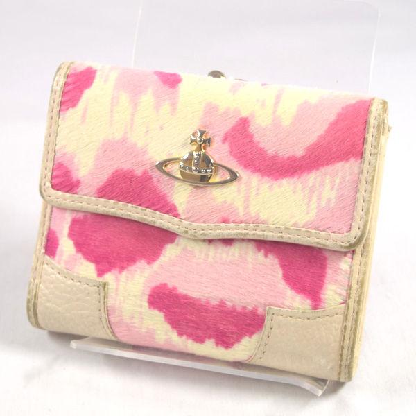 大規模セール Vivienne Westwood ヴィヴィアンウエストウッド ◆セール特価品◆ ■がま口三つ折り財布 ハラコ 財布 ブランド サイフ ウォレット 中古 wallet コイン