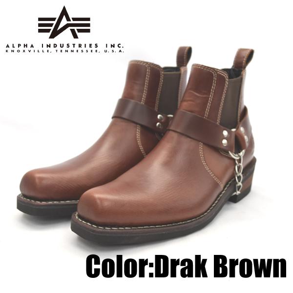 ALPHA INDUSTRIES アルファインダストリーズ AFB-20011 ダークブラウン 25.0cm 本革 ウエスタン ブーツ 靴 メンズ 【nesh】【新品】