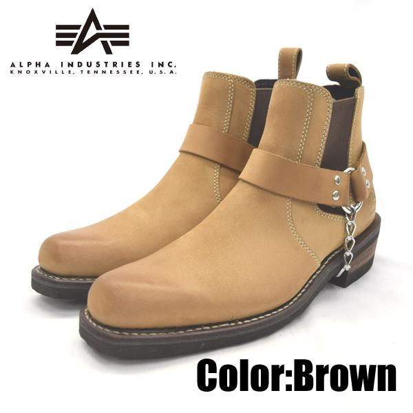 ALPHA INDUSTRIES アルファインダストリーズ AFB-20011 ブラウン 26.0cm 本革 ウエスタン ブーツ 靴 メンズ 【nesh】【新品】