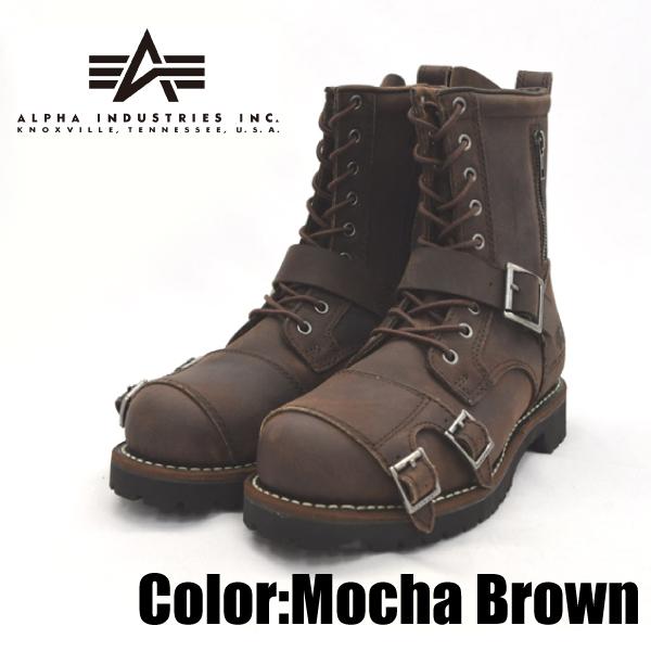 ALPHA INDUSTRIES アルファインダストリーズ /AFB-20020 モカブラウン 25.0cm 本革 バイカーブーツ 靴 メンズ 【nesh】【新品】