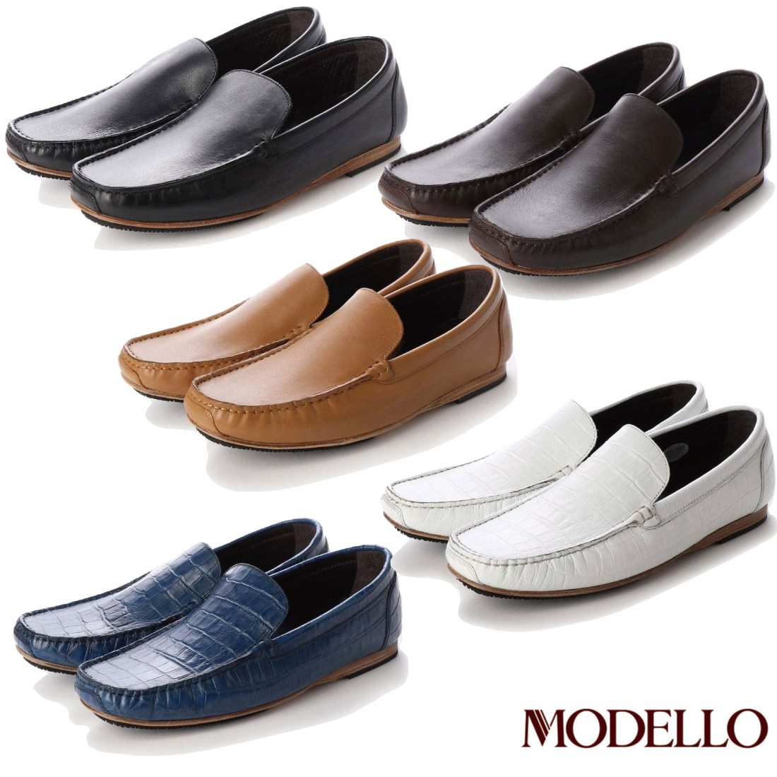 本革 高級 MODELLO モデロ 靴 【新品】 レザーソール DM5511 スリップオン シューズ 【nesh】 本革