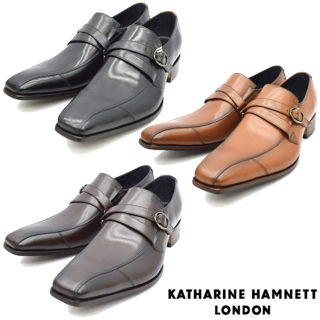 KATHARINE HAMNETT キャサリンハムネット モンクストラップ ビジネス シューズ 31591 紳士靴 【nesh】 【新品】