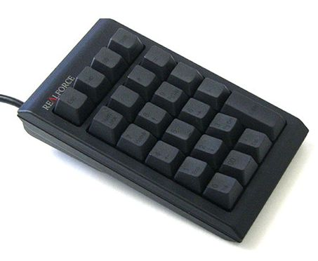 東プレ 静電容量無接点方式採用 USB接続 キー数23 (特殊キー/19キー+4キー) 昇華印刷 テンキー ブラックキーボード Realforce23U WC01B0