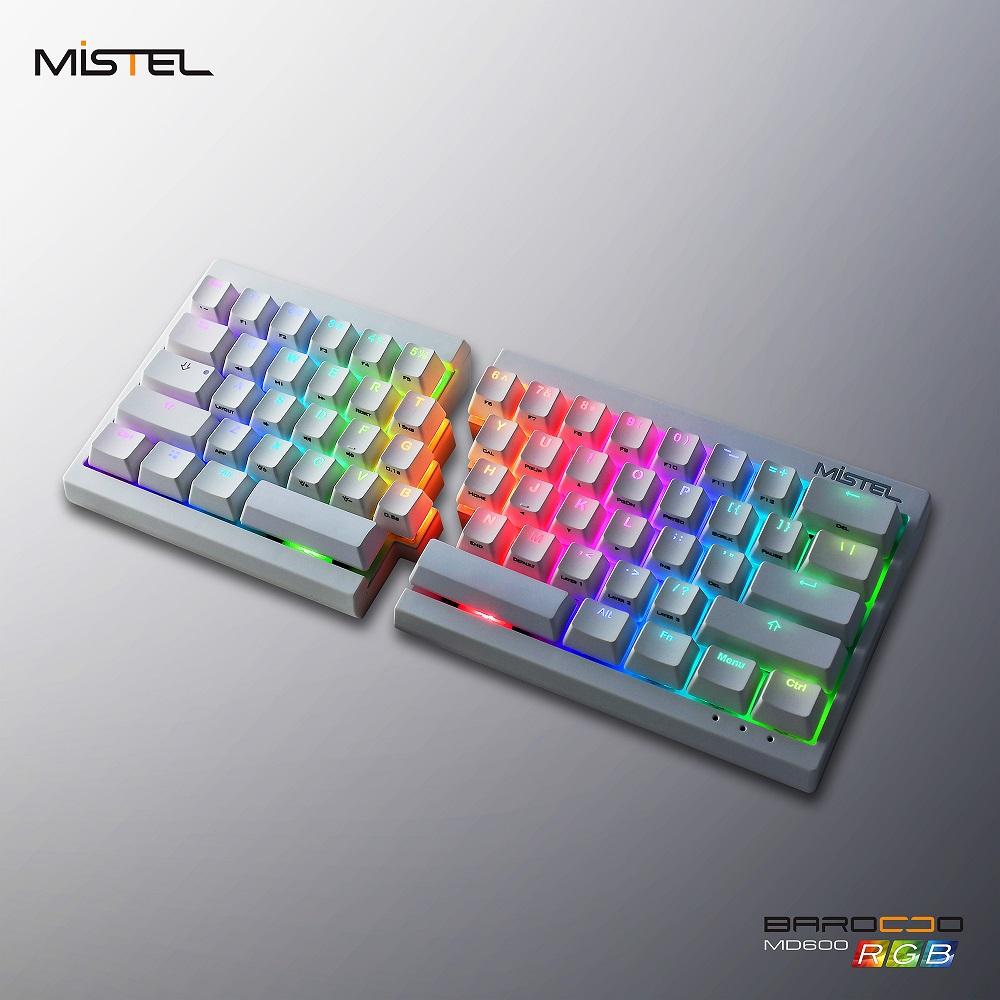MISTEL コンパクトなのに分離型!エルゴノミクスキーボードの進化系 CHERRY MXスイッチ搭載 左右分離型 茶軸 RGBメカニカルキーボード 英語US配列 62キー Barocco MD600-BUSPDWWT1