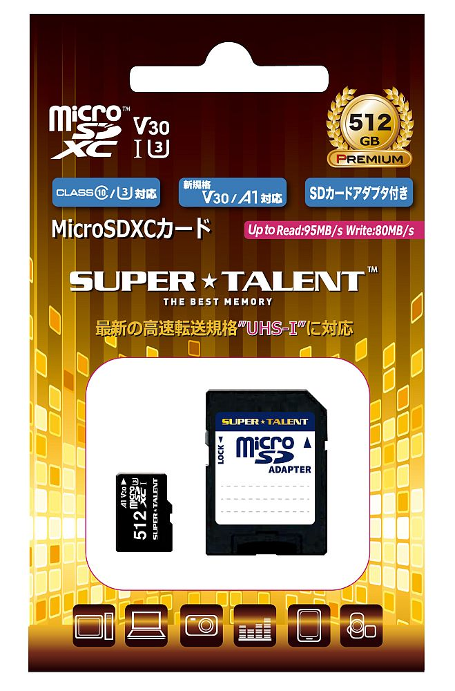 SUPER TALENT 安心の3年保証 microSDXCカード 512GB ハイスピード UHS-I U3 A1 V30対応 ST12MSU1P