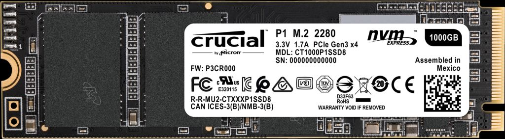 Crucial SSD M.2 1000GB P1シリーズ Type2280 PCIe3.0x4 NVMe 5年保証 CT1000P1SSD8