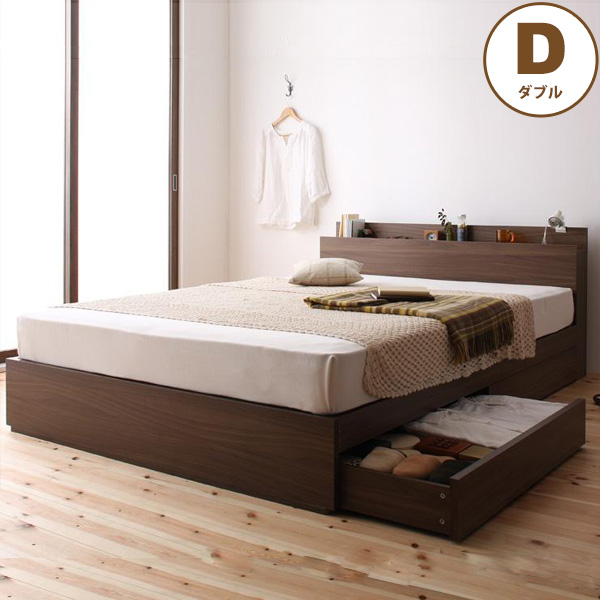収納ベッド (ダブルサイズ/フレームのみ) general ジェネラル 送料無料ベッドフレーム ベッド ダブル 収納 収納付き 引き出し 引き出し付き ベッド下収納 棚付き コンセント付き 木製 おすすめ 北欧 シンプル ウォールナット ブラウン arco