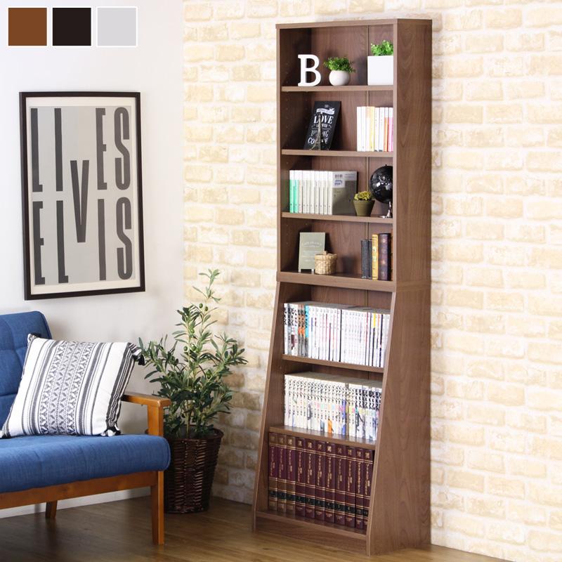 SOHO書棚 本棚 オープンラック 幅60cm 奥行30cm 高さ180cm 大容量 収納 移動棚 上下分割 積み重ね 木製 ホワイト ダークブラウン ウォールナット 31121 arco