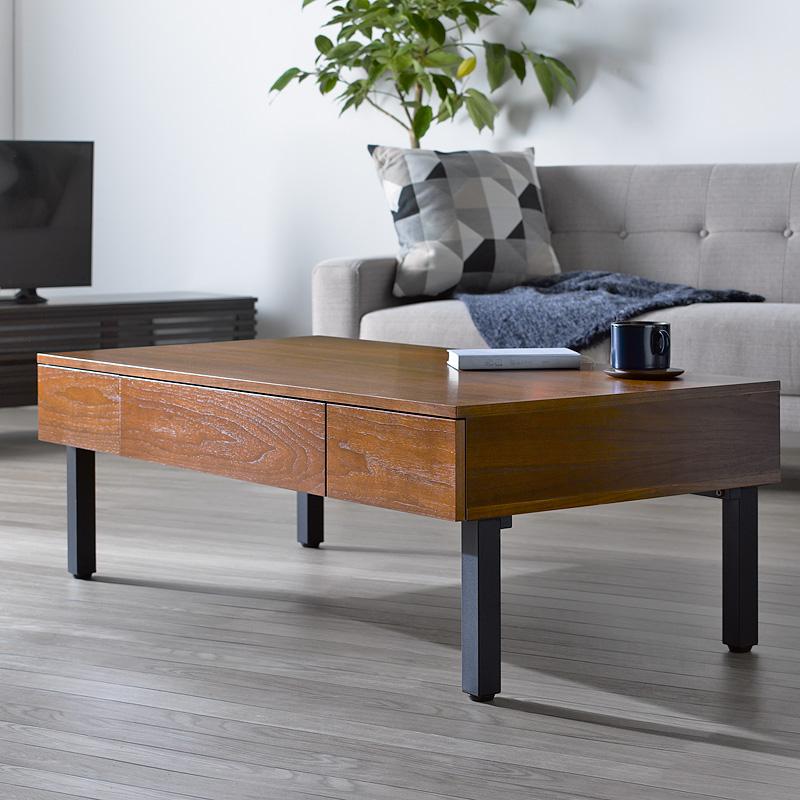 リビングテーブル 引き出し付き 幅120cm 北欧 ベルーラ verla iw-230テーブル 引出し 収納付き センターテーブル ローテーブル 引出し ヴィンテージ ビンテージ 木製 おしゃれ ウォールナット ブラウン 岩附 arco