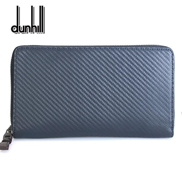 【dunhill】ダンヒル 財布 ラウンドファスナー メンズ シャーシ CHASSIS シングルジップ ネイビー×ダークブラウン L2V5D2N 【あす楽対応】【送料無料】