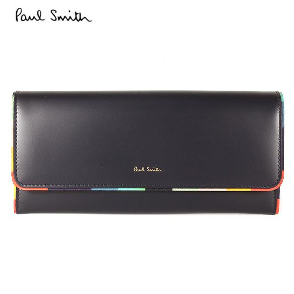 【PaulSmith】ポールスミス 長財布 レディース スワールスブラック×ブラック W1A 5292 AEDGE 47 Made in SPAIN