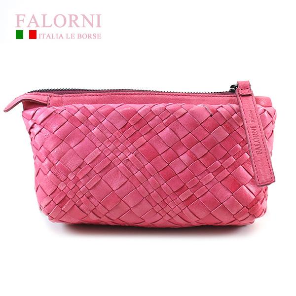 【Falorni】 ファロルニ ポーチ バッグ ラムスキン AC104 LEATHER BAG ROSA ピンク【送料無料】