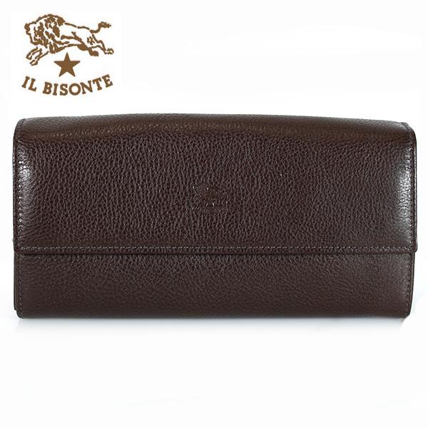 【IL BISONTE】イルビゾンテ 長財布 財布 レザー メンズ レディース C0918 455 ダークブラウン(MOKA)【あす楽対応】【送料無料】