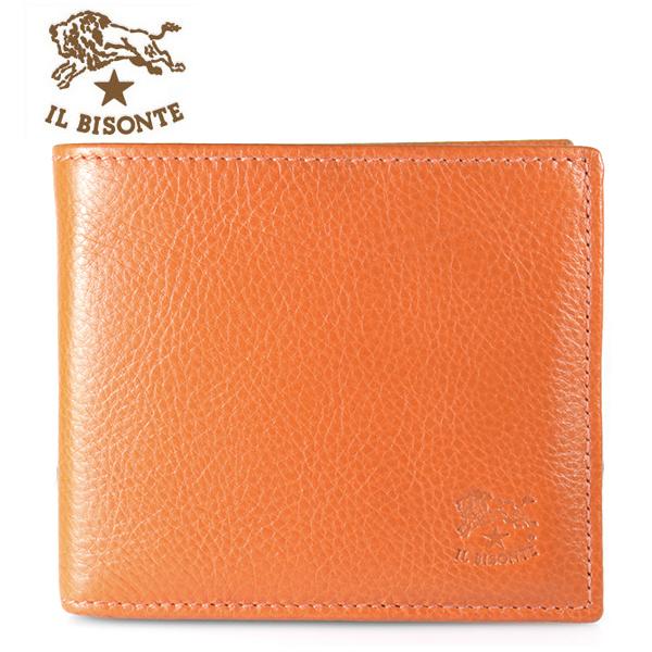 【IL BISONTE】イルビゾンテ 折財布 フラップ ORANGE オレンジ C0817 P 166【あす楽対応】