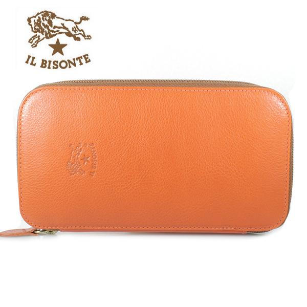 【IL BISONTE】イルビゾンテ 長財布 ラウンドファスナー ORANGE オレンジ C0442 P 166【あす楽対応】【送料無料】