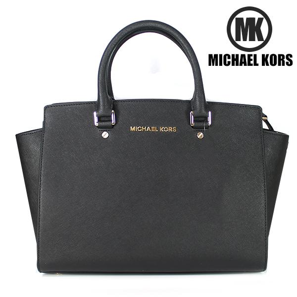 【MICHAEL KORS】MK マイケルコース 2WAY ハンドバッグ SELMA セルマ サッチェルバッグ サフィアーノレザー ブラック 30S3GLMS7L 001 【送料無料】【あす楽対応】
