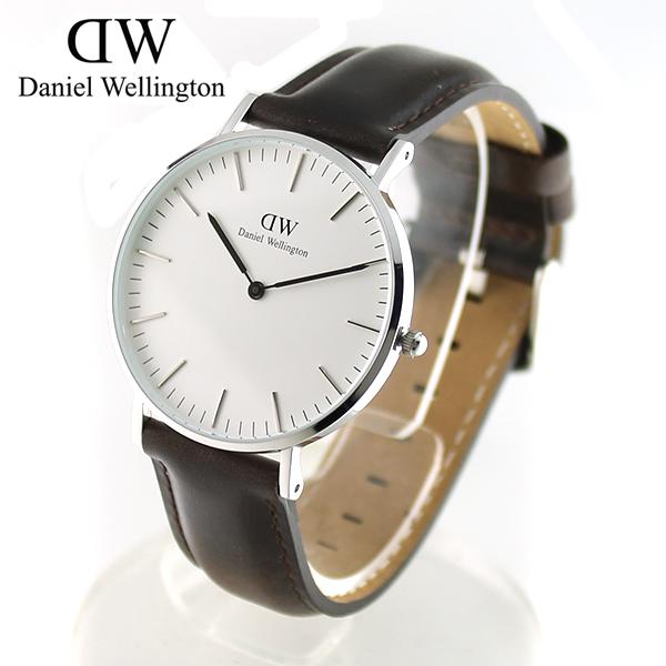 6bc5299d02 【Daniel Wellington】ダニエルウェリントン 36mm 腕時計 0611DW 革ベルト レザー ブリストル シルバー×ダークブラウン  メンズ/レディース【あす楽対応】