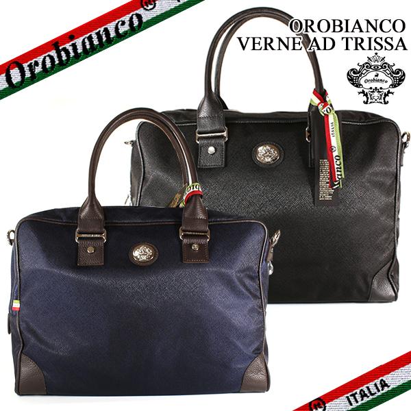 【OROBIANCO】オロビアンコ ブリーフケース ビジネスバッグ VERNE AD TRISSA バッグ メンズ レザー ブラック/ブルー