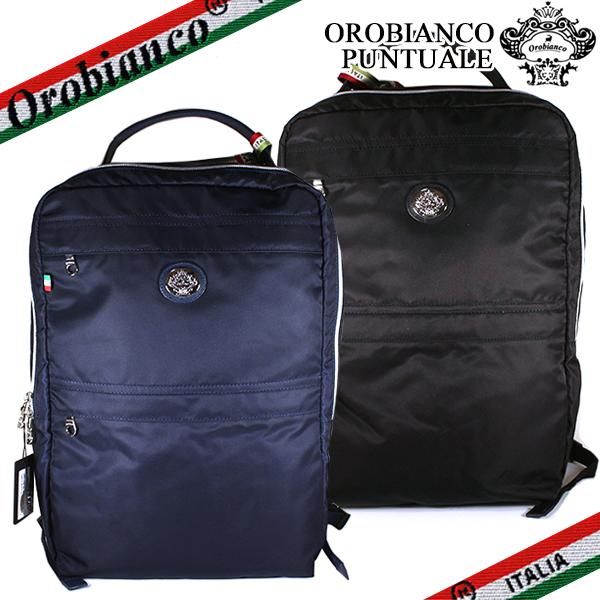 オロビアンコ ビジネスバッグ リュックサック Orobianco メンズ PUNTUALE-C 01 プンチュアーレ 2WAYバッグ ビジネスリュック 紳士用 大容量 バッグ ナイロン レザー ブラック/ブルー イタリア製