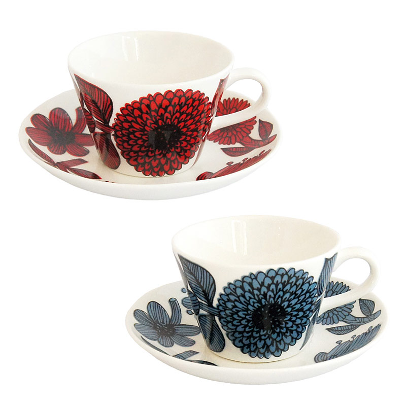 グスタフスベリ Gustavsberg コーヒーカップ&ソーサー レッドアスター Red aster ブルーアスター Blue aster- 北欧食器 プレゼント