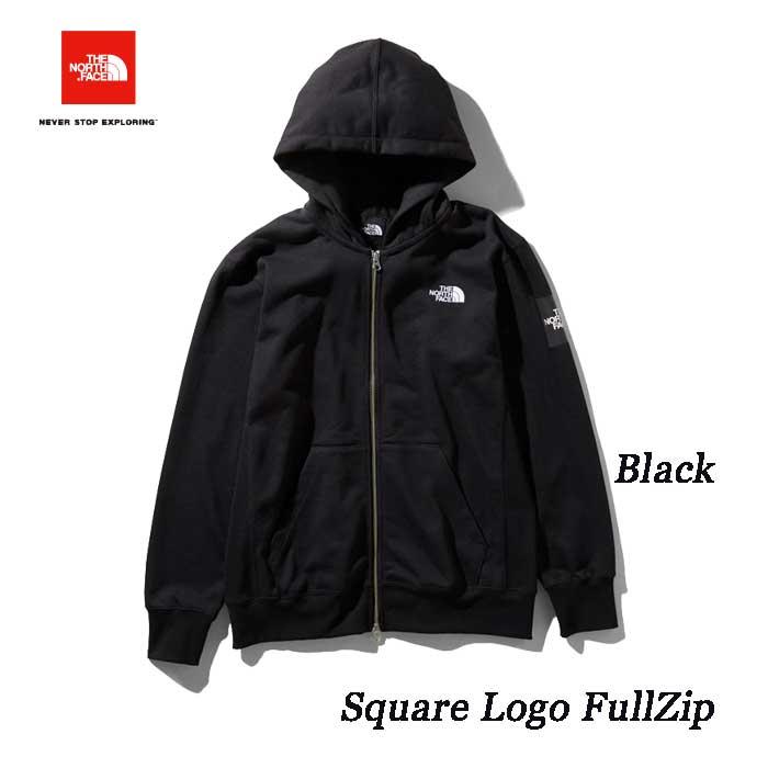 The North Face スクエアロゴフルジップ(メンズ) ジップ付きスウェットパーカ ザ ノースフェイス Square Logo FullZip NT11952 (K)ブラック