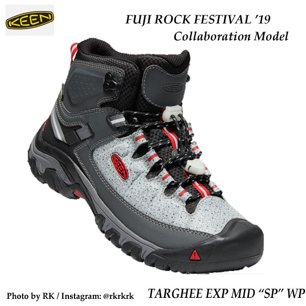 "KEEN 1021804 MENS TARGHEE EXP MID ""SP"" WP STONE/FIRE RED fuji rock キーン メンズ フジロックコラボモデル メンズ ターギー イーエックスピー ミッド エスピー ウォータープルーフ"