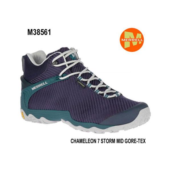 Merrell CHAMELEON 7 STORM MID GORE-TEX M38561 NAVY/TEAL メレル カメレオン 7 ストームミッドゴアテックス メンズ アウトドア ゴアテックス スニーカー 幅2E相当