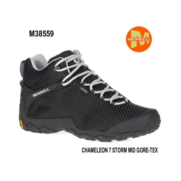 Merrell CHAMELEON 7 STORM MID GORE-TEX M38559 BLACK/BLACK メレル カメレオン 7 ストームミッドゴアテックス メンズ アウトドア ゴアテックス スニーカー 幅2E相当