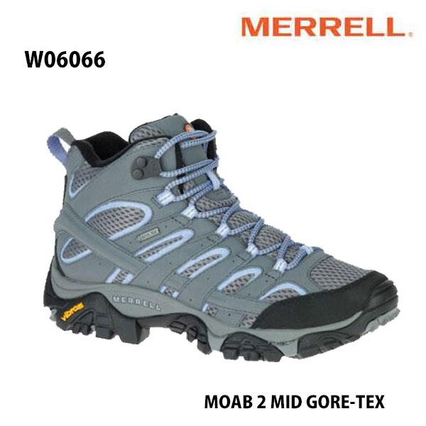 Merrell W06066 MOAB 2 MID GORE-TEX Grey/Periwinkle  メレル ウィメンズ モアブ 2 ミッド ゴアテックス レディース アウトドア ゴアテックス スニーカー 防水 幅2E相当