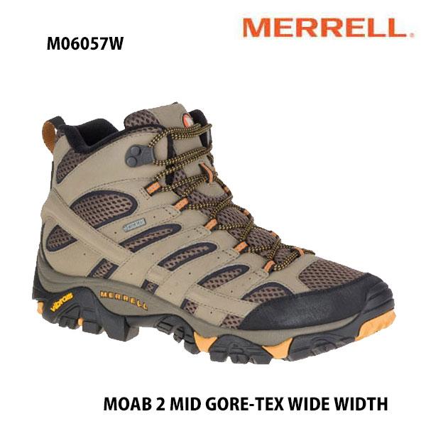 Merrell M06057W MOAB 2 MID GORE-TEX WIDE WIDTH WALNUT  メレル モアブ 2 ミッド ゴアテックス ワイド ワイズ ウォルナット メンズ アウトドア スニーカー 防水 幅広 幅2E相当